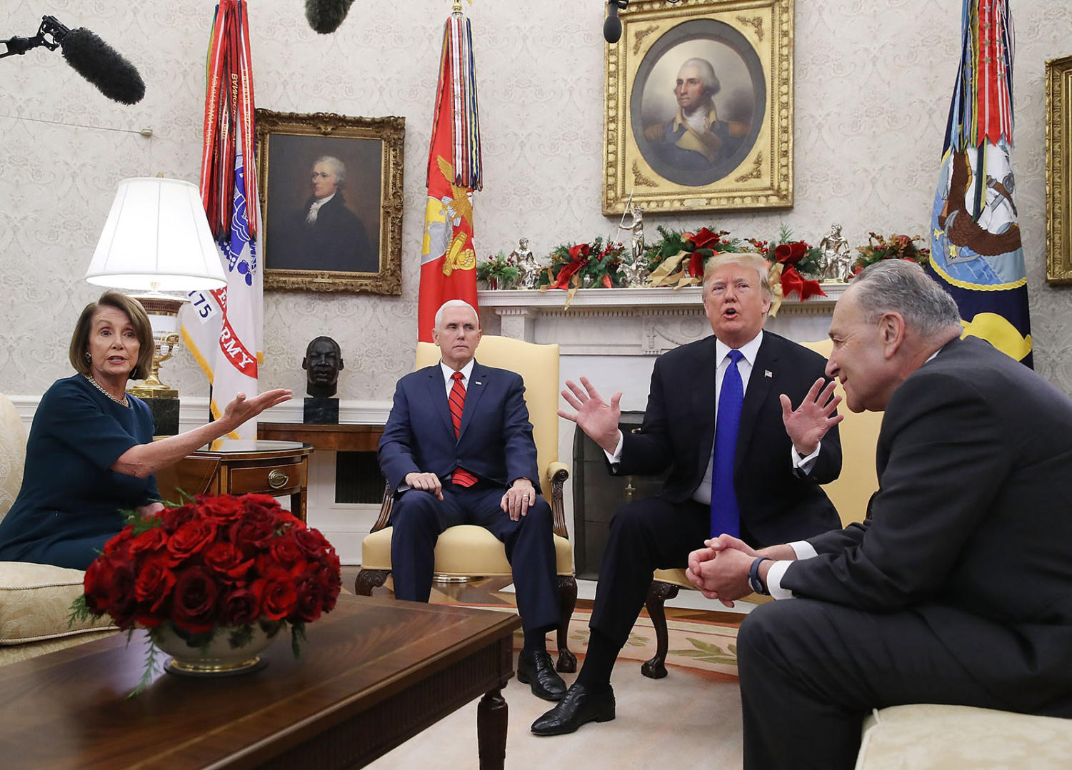 Another shutdown looms if President Trump and Democratic congressional leaders can't agree to fund the federal government by Friday. In December, House Speaker Nancy Pelosi and Senate Majority Leader Chuck Schumer met with Vice President Mike Pence and Trump in the Oval Office to discuss border security and funding the government.