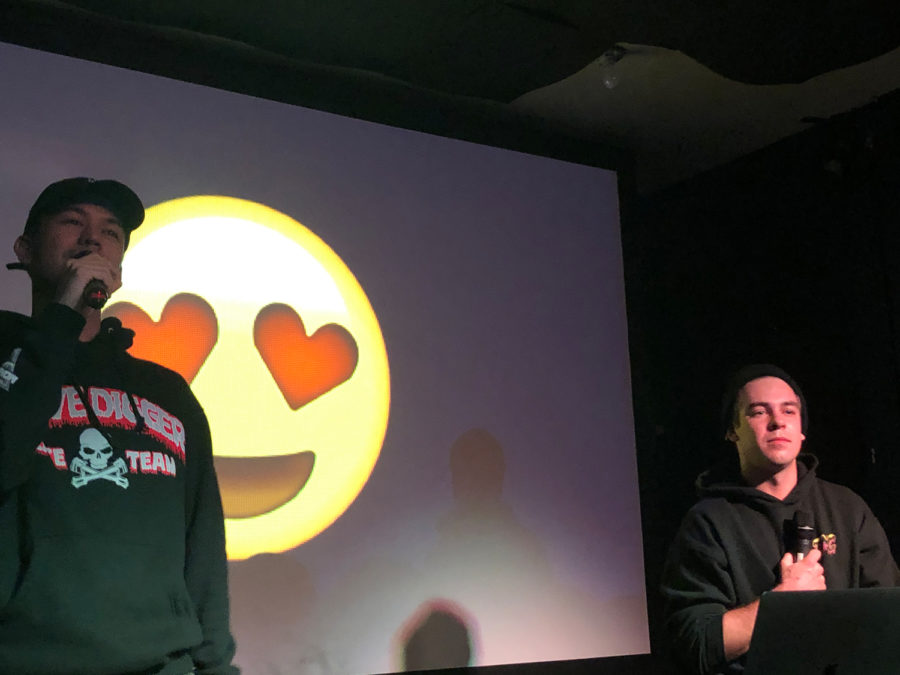 YouTube comedy duo Cody Ko (right) and Noel Miller (left) start their show at The Smiling Moose on Thursday evening after singing a satirical song about the front row of their audience.