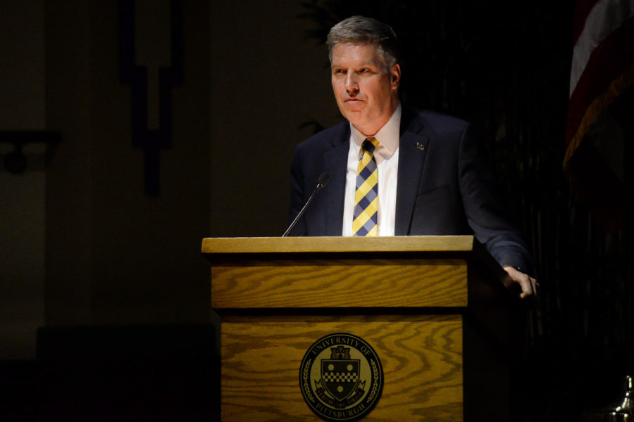 Chancellor Patrick Gallagher speaks during the February 2018 Board of Trustees meeting.