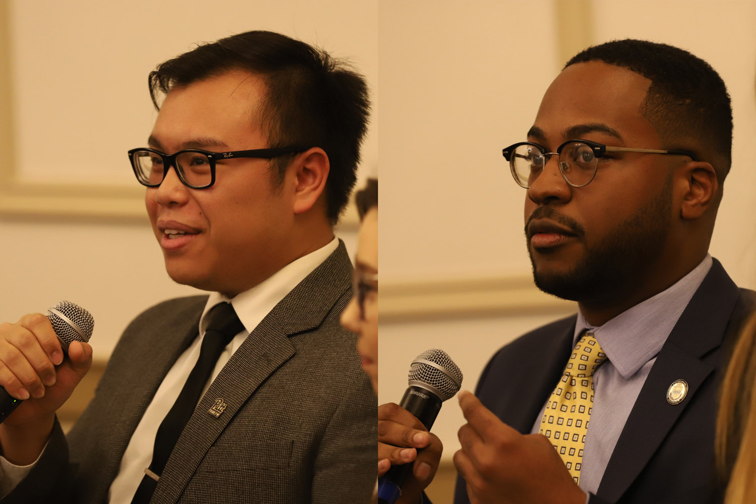 "SGB Presidential candidates Albert Tanjaya (left) and Zechariah Brown (right) at SGB's ""Meet the Candidates"" event on Thursday night."