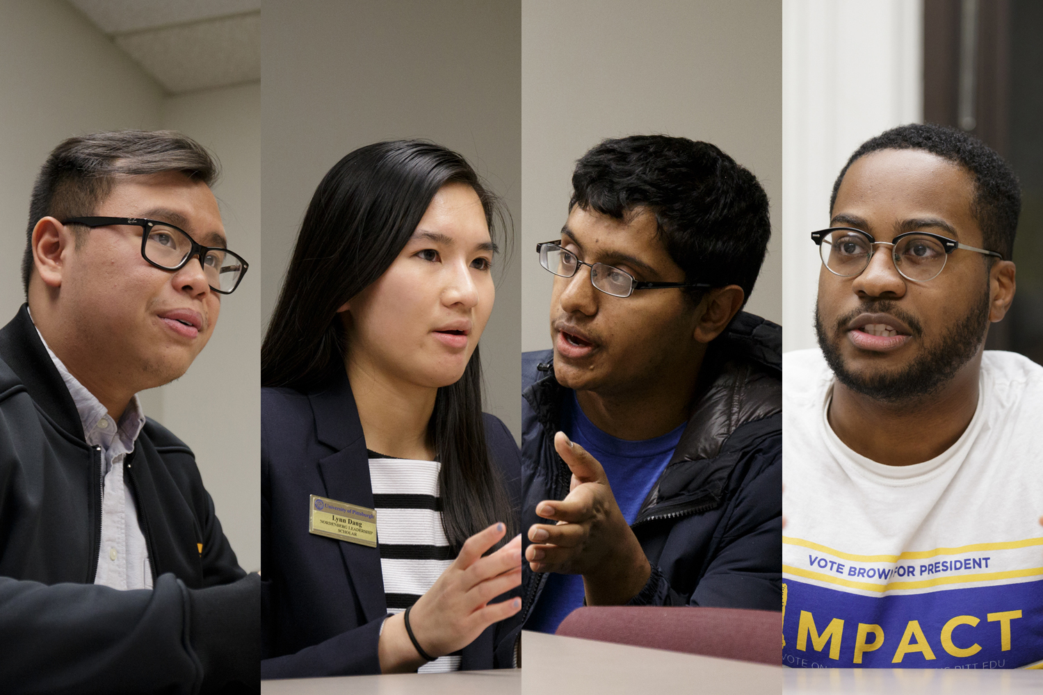Frontier's presidential candidate Albert Tanjaya (from left), 19Forward's board candidate Lynn Dang, board candidate Aman Reddy and Impact's presidential candidate Zechariah Brown.