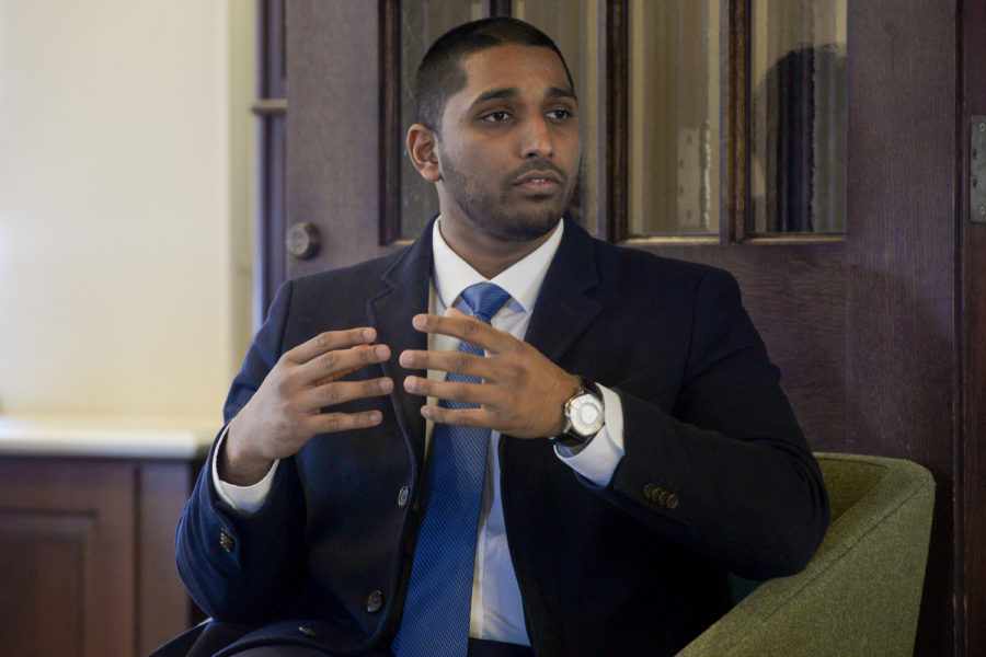 Former Pitt student Wasi Mohamed spoke about community engagement and religion on Thursday, Feb. 21, at the Community Cafe hosted by Pitt's Honors College.