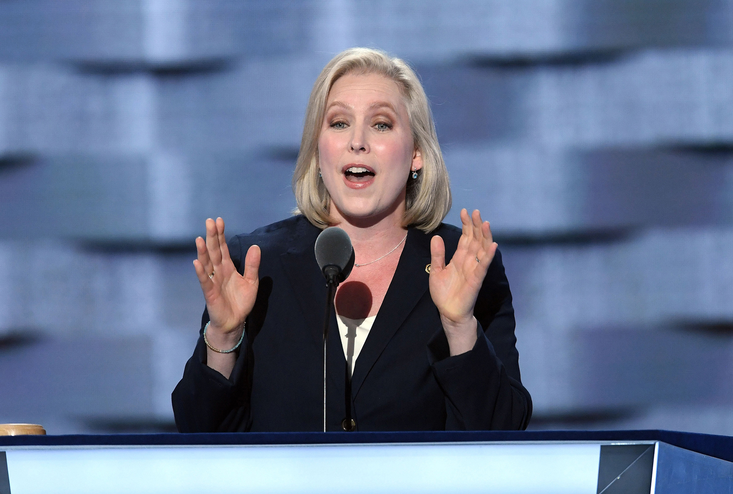 New York Sen. Kirsten Gillibrand speaks during the first day of the Democratic National Convention on July 25, 2016, in Philadelphia.