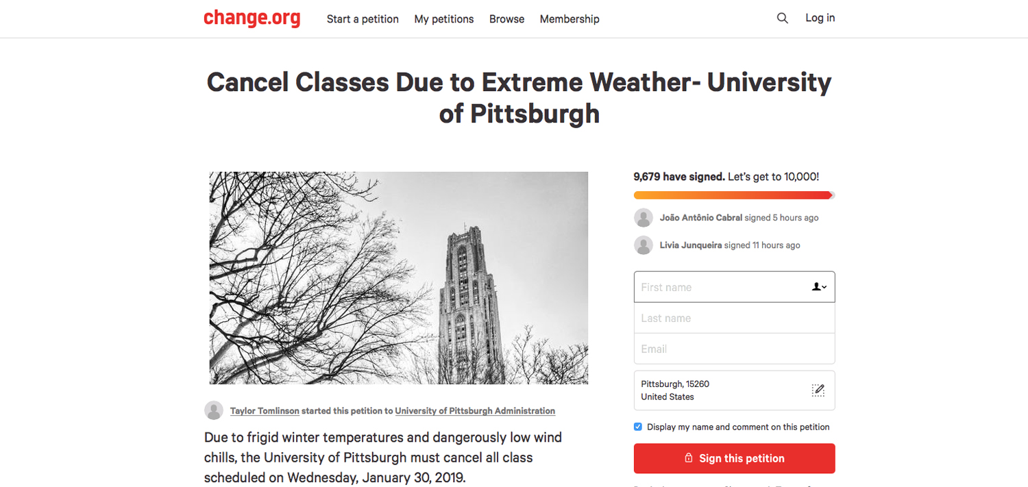 9,665 students signed the petition urging Pitt to cancel classes on Jan. 30 due to extreme cold.