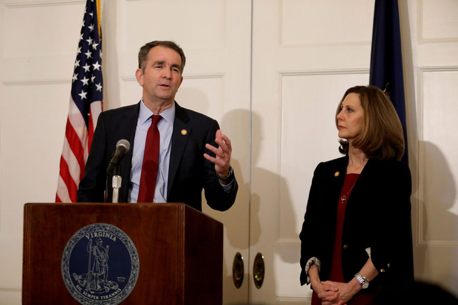 Virginia Gov. Ralph Northam, with his wife Pam at his side, said at a news conference in the Executive Mansion on Saturday, Feb. 2, that he is not the person in the racist photo in the East Virginia Medical School yearbook and he will not resign.