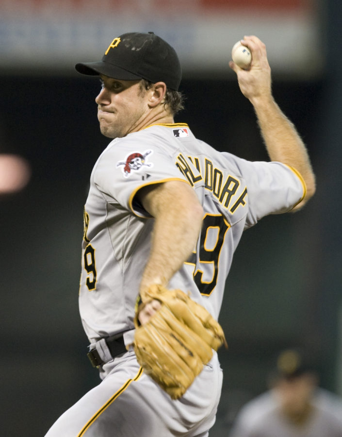 Ross Ohlendorf of the Pittsburgh Pirates pitches against the Houston Astros in the first inning of their game Thursday, July 8, 2010, at Minute Maid Park in Houston.