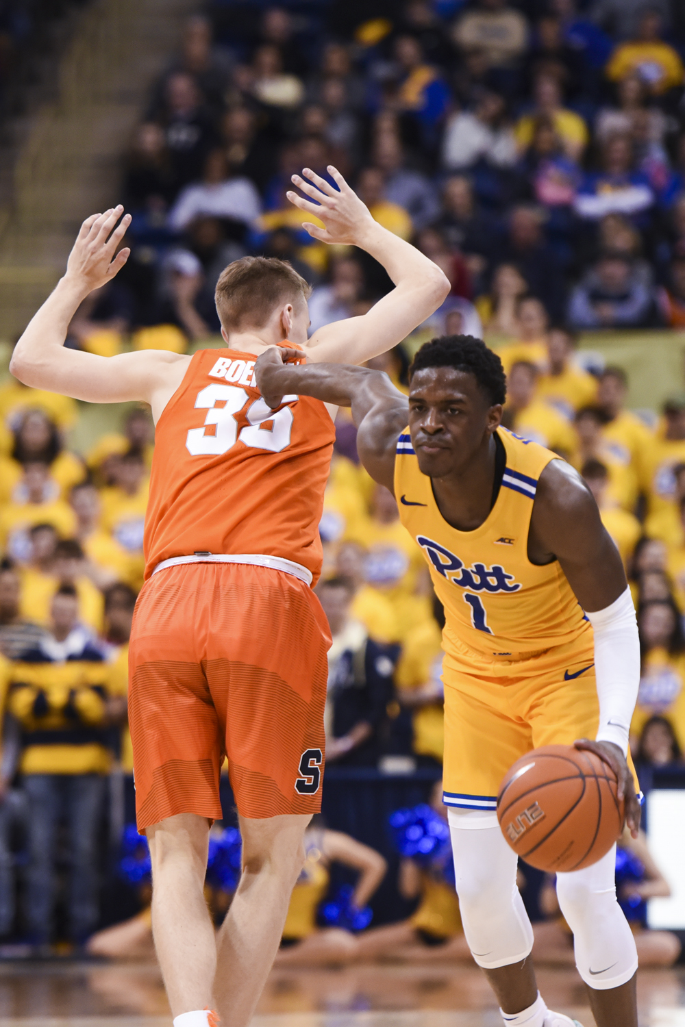 First-year point guard Xavier Johnson (1), pictured here against Syracuse on Feb. 2, scored nearly a third of Pitt's 76 points during Pitt's loss against Wake Forest Tuesday night.
