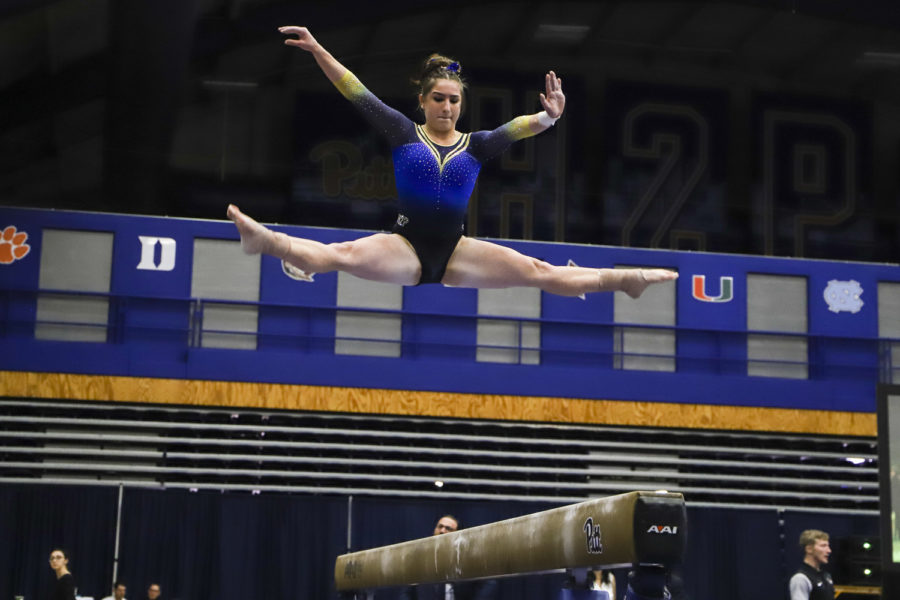 Pitt gymnastics achieved its highest score this season on Friday night. It placed second against West Virginia University and Ball State, losing to West Virginia by less than half a point.