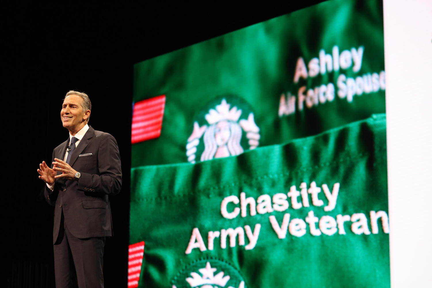 Starbucks Chairman Howard Schultz talks about how many veterans the company will be hiring on March 22, 2017 at the Starbucks shareholders meeting in Seattle, Wash. (Steve Ringman/Seattle Times/TNS)
