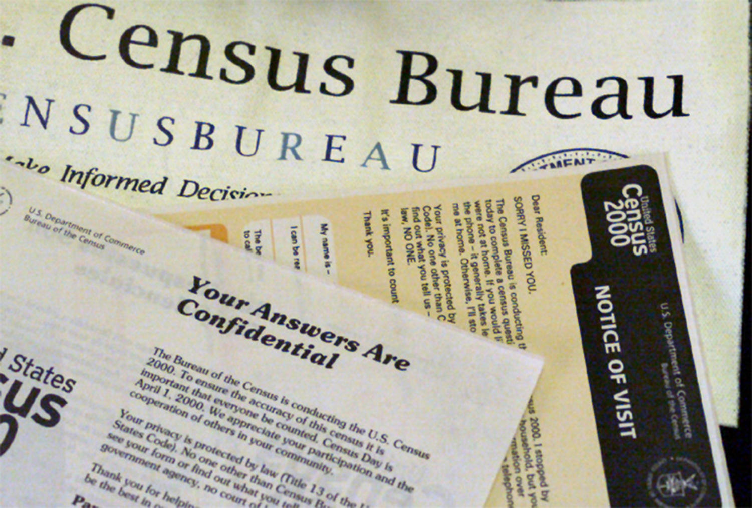 The paperwork used by census takers in 2000.
