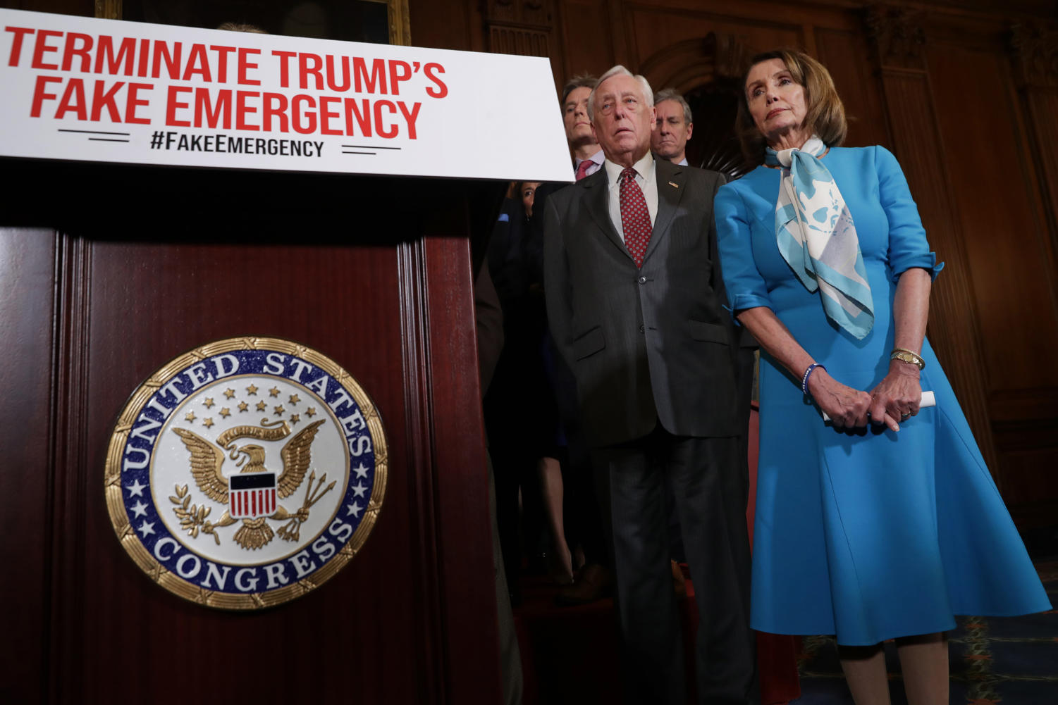 Speaker of the House Nancy Pelosi (D-CA) (R) is joined by House Majority Leader Steny Hoyer (D-MD) and other House Democrats for a news conference on the Privileged Resolution to Terminate President Donald Trump's emergency declaration Feb. 25, 2019 in Washington, D.C. The House Thursday passed a resolution to abolish Trump's declaration of a national emergency to build a U.S.-Mexico border wall.