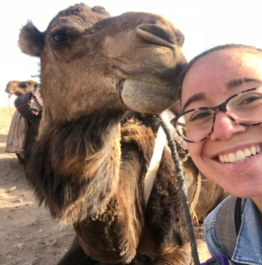 A camel poses for a selfie with Anna in Zagora, Morocco.