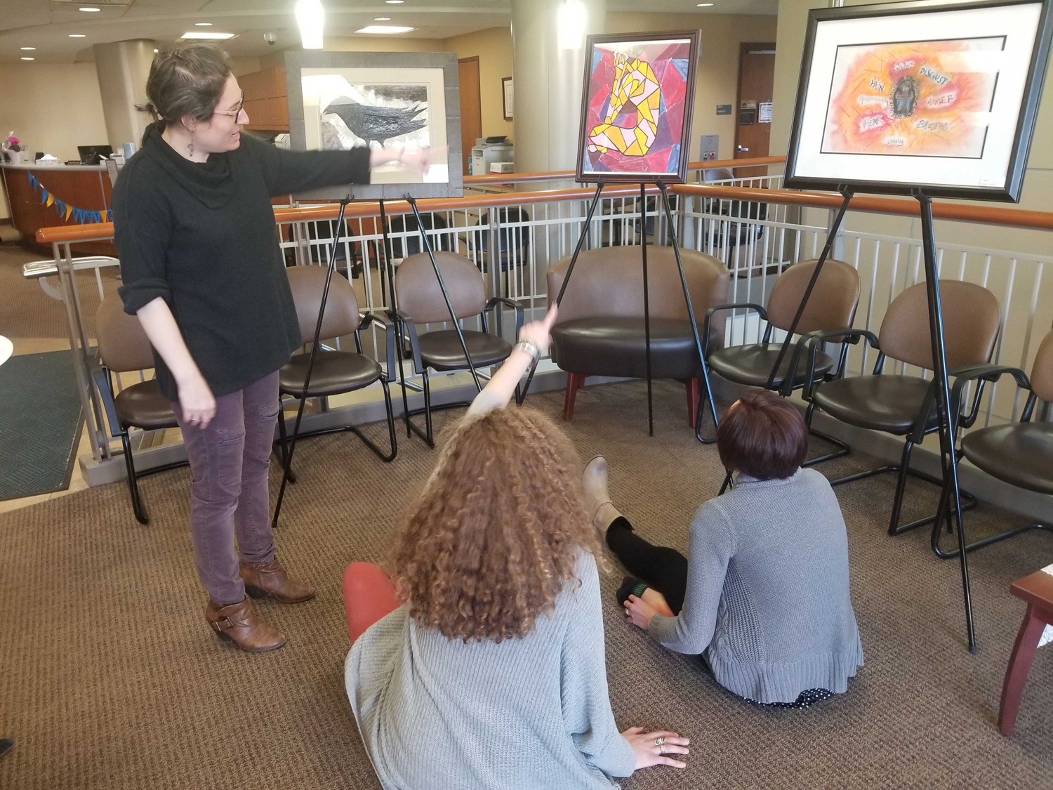 The Renfrew Center had a pop-up gallery in the Wellness Center of Nordenberg Hall, showcasing artwork by women battling eating disorders.