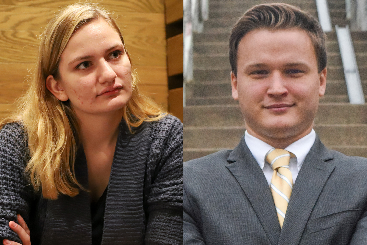 Pitt undergraduates Ashley Priore (left) and Chris Kumanchik (right) are both currently facing difficulties with their respective political campaigns.