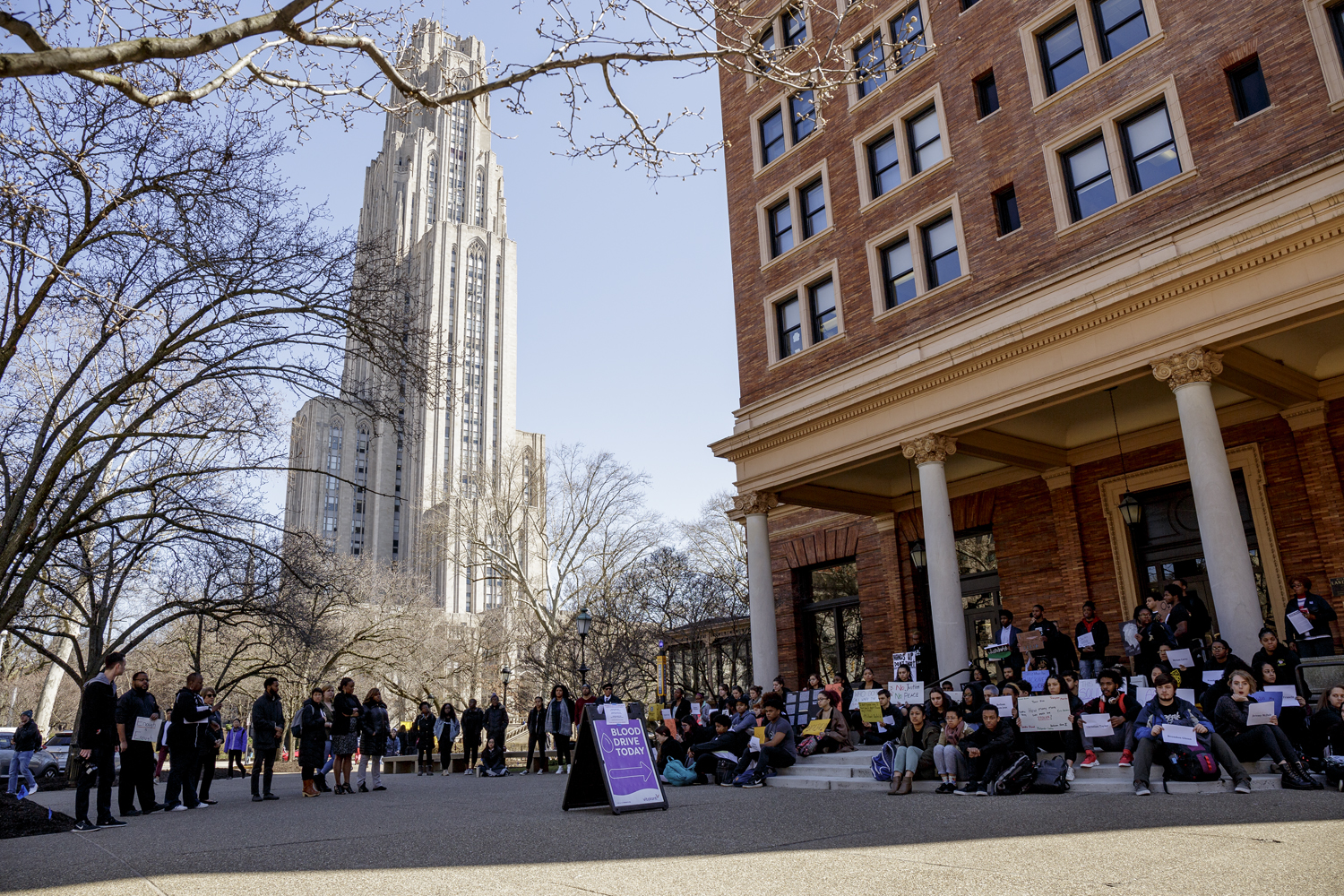 Around 120 students gathered outside the William Pitt Union on Wednesday afternoon for a silent and peaceful die-in demonstration, which lasted around 40 minutes.
