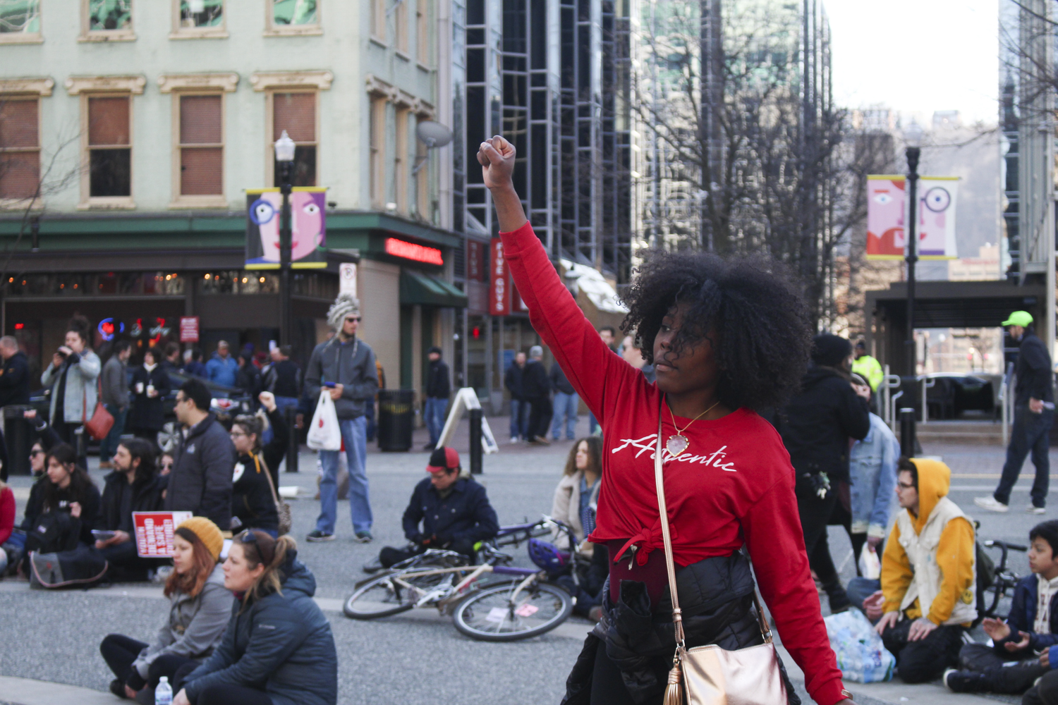 Protesters marched from Freedom Corner in the Hill District to Market Square, where they continued their demonstration.