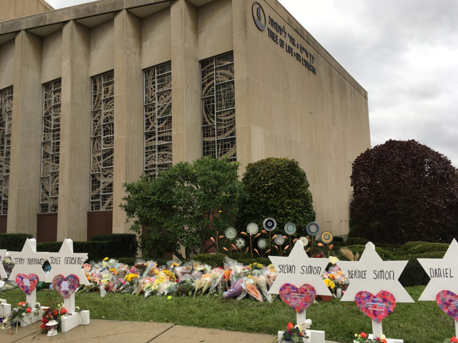 The+Tree+of+Life+Synagogue+on+the+first+Monday+after+the+Oct.+27+shooting+last+year.%0A