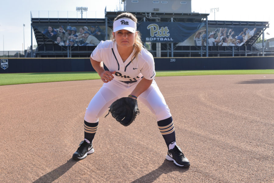 Senior+shortstop+Olivia+Gray+attained+a+batting+average+of+.304+over+her+Pitt+softball+career.%0A