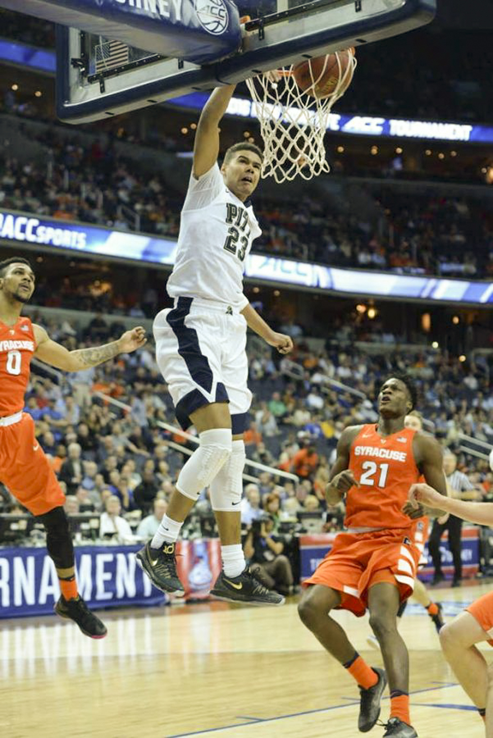 Ex-Panther and projected first-round 2019 NBA Draft pick Cameron Johnson, pictured here against Syracuse in 2016, led No. 1 UNC in scoring with 16.9 points per game during the regular season.