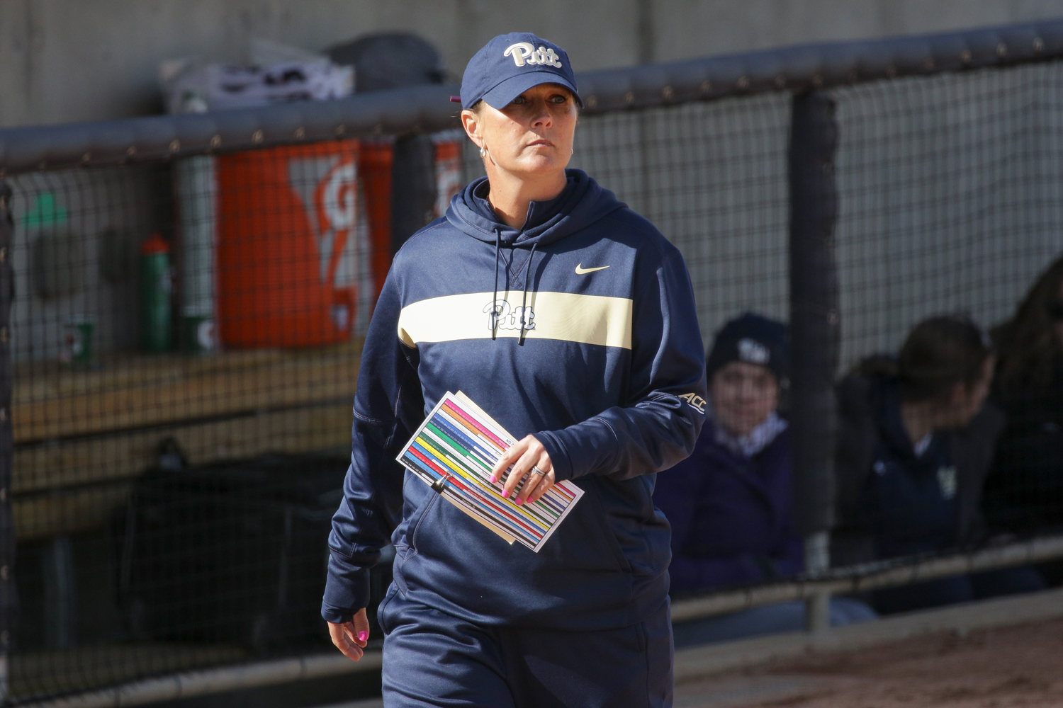 Softball head coach Jodi Hermanek at Pitt's 11-9 loss to Ohio University.
