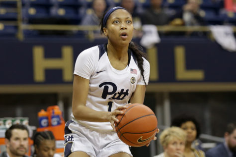 Senior forward Danielle Garven (01) led Pitt's offense with 16 points during the team's 86-64 loss to Duke in the first round of the ACC Women's Basketball Tournament.