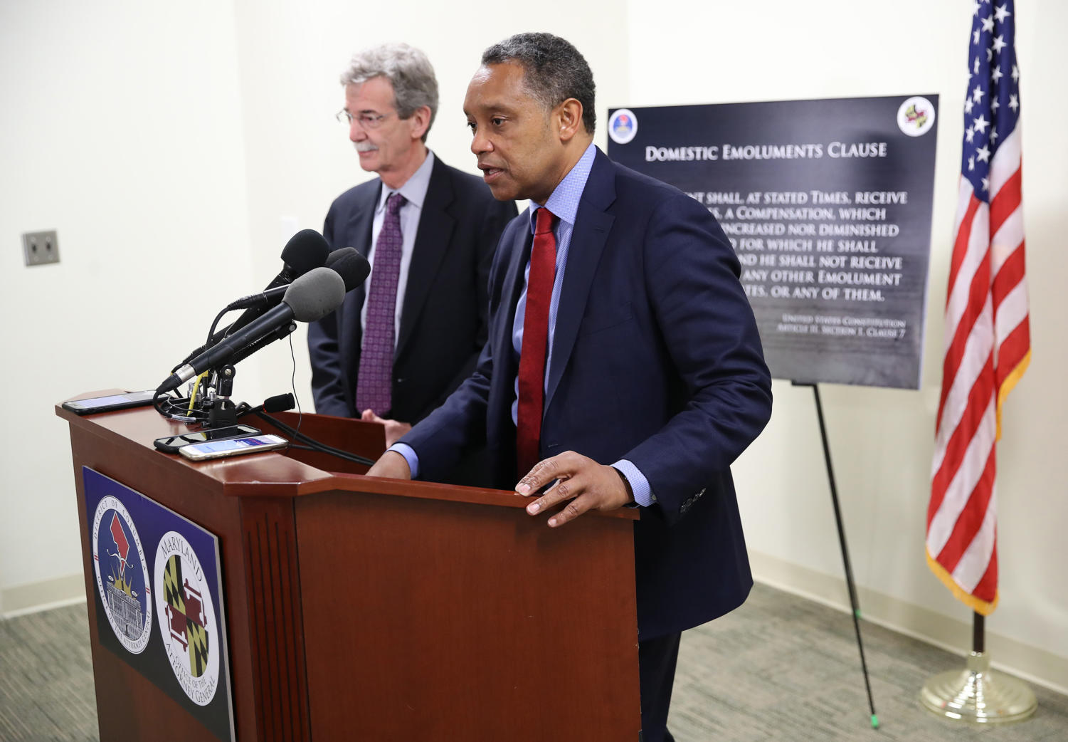 Maryland Attorney General Brian Frosh (L) and District of Columbia Attorney General Karl Racine (R) answer questions after a case before the United States Court of Appeals for the Fourth Circuit March 19, 2019 in Richmond, Virginia. (Win McNamee/Getty Images/TNS) **FOR USE WITH THIS STORY ONLY**