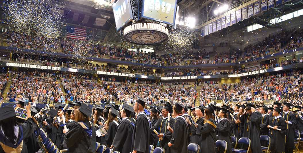 Pitt's class of 2017 celebrates their graduation with a ceremony at the Petersen Events Center.