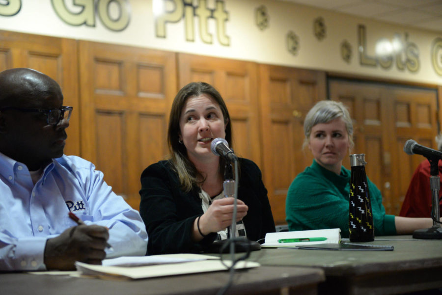 Aurora Sharrard, Pitt's Director of Sustainability, speaks at a town hall hosted by SGB Tuesday night.