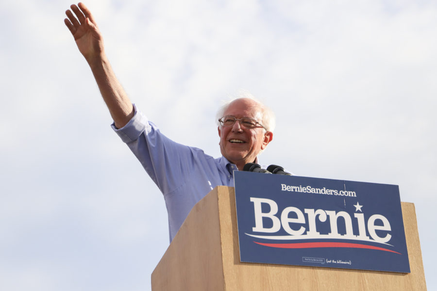 Bernie Sanders waves to the crowd at the beginning of his rally on Sunday evening.