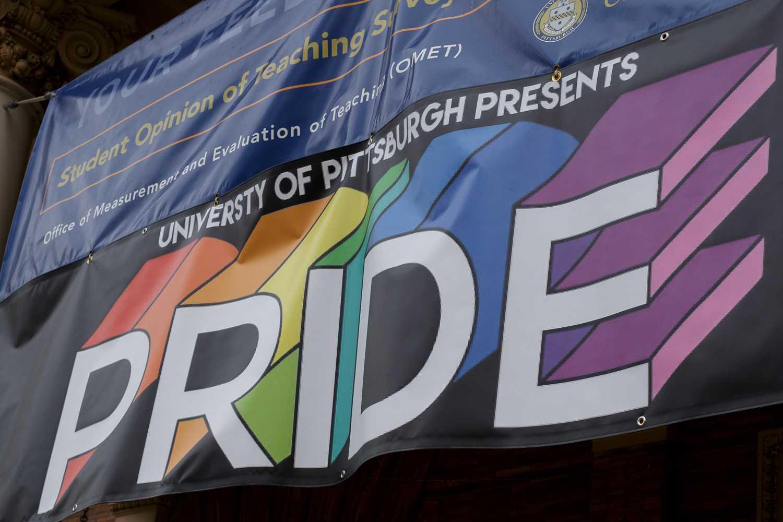 Pitt Pride banner outside of the William Pitt Union.