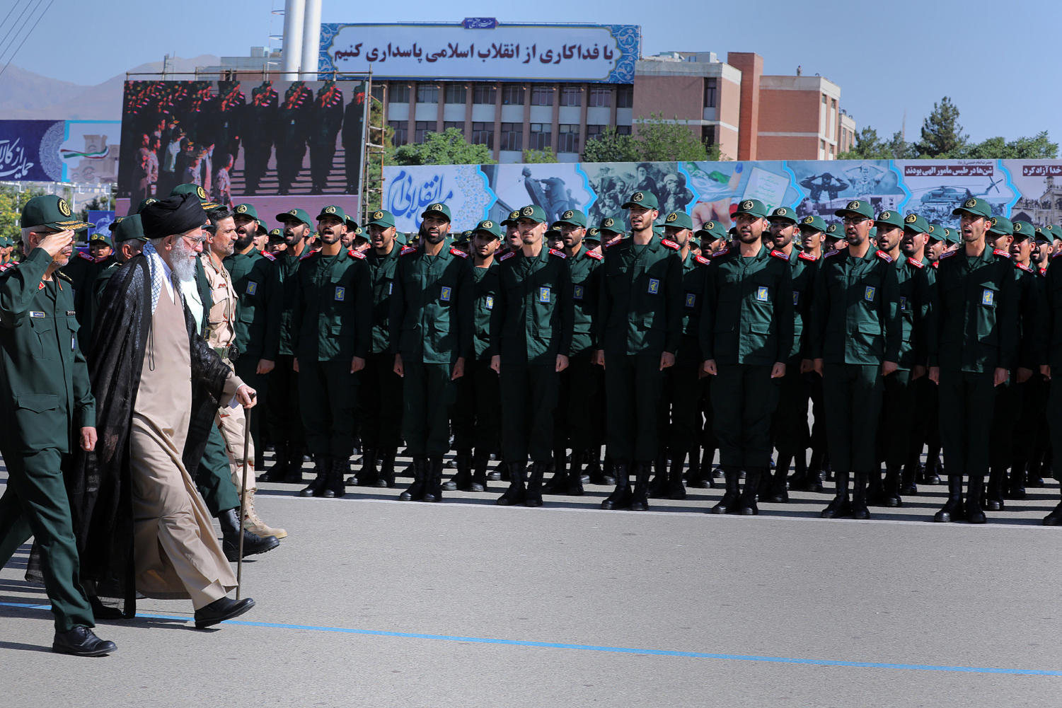 Iranian Supreme Leader Ayatollah Seyyed Ali Khamenei attended the graduation ceremony of The Islamic Revolutionary Guard Corps (IRGC), held at the military cadets Imam Hussain (a.s.) Officers Academy. Tehran, Iran, June 30, 2018.