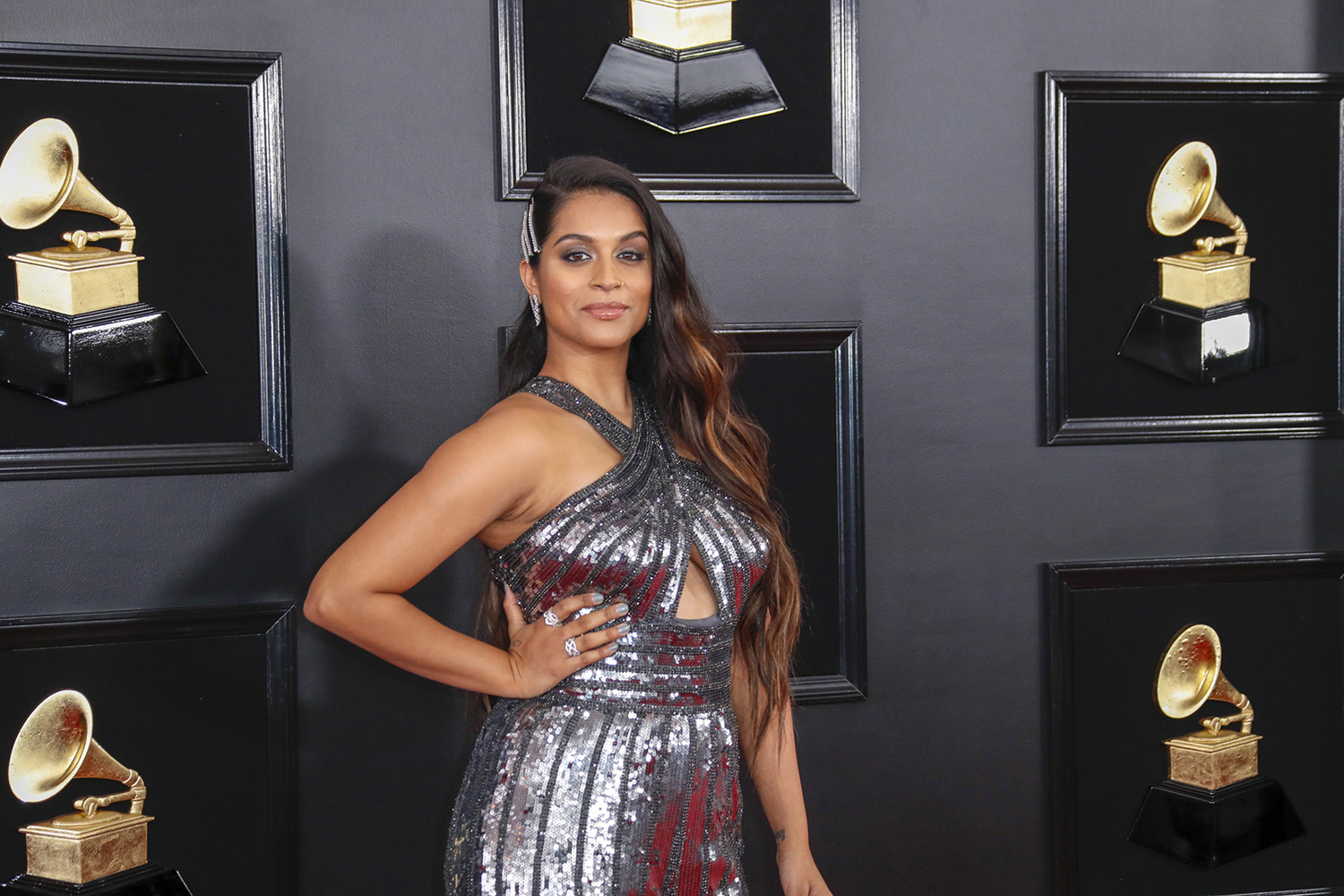Lilly Singh arrives at the 61st Grammy Awards at Staples Center in Los Angeles on Feb. 10.