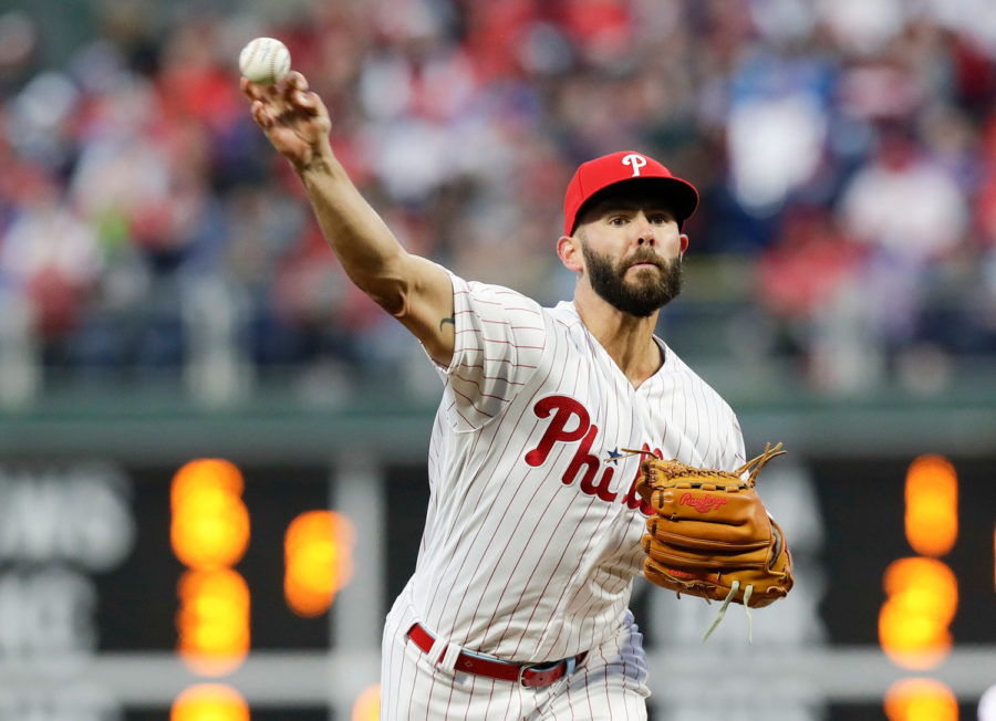 Philadelphia+Phillies+pitcher+Jake+Arrieta+throws+a+first-inning+pitch+against+the+Atlanta+Braves+on+Sunday+in+Philadelphia.+%0A