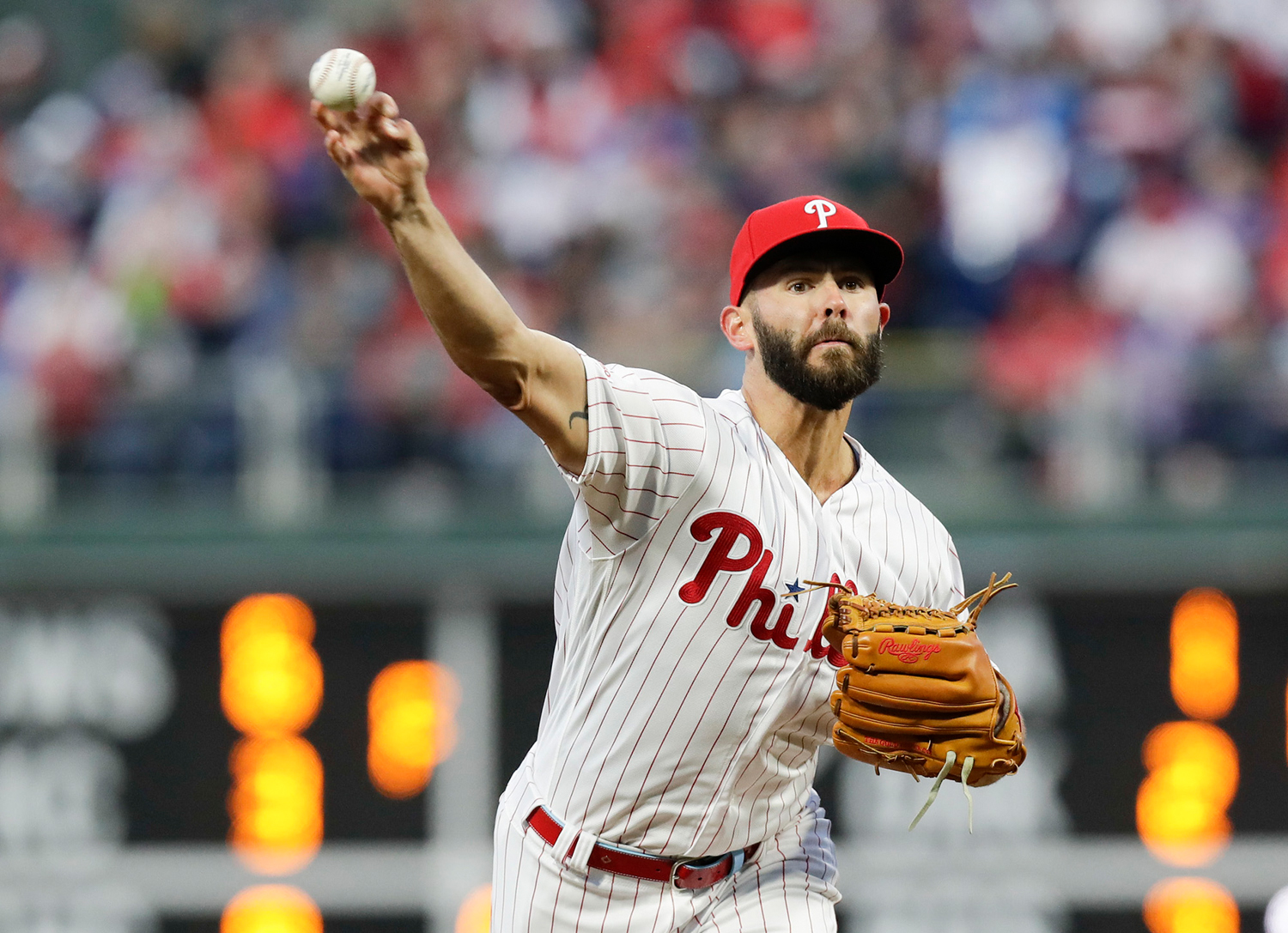 Philadelphia Phillies pitcher Jake Arrieta throws a first-inning pitch against the Atlanta Braves on Sunday in Philadelphia.