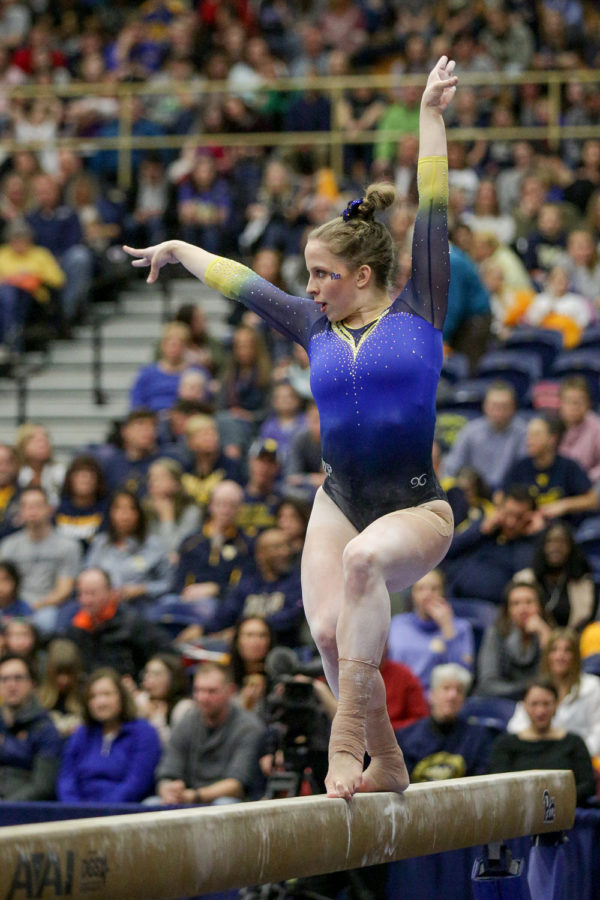 Senior gymnast Brittany West earned a 9.750 on beam at the National Collegiate Gymnastics Championship on Friday.
