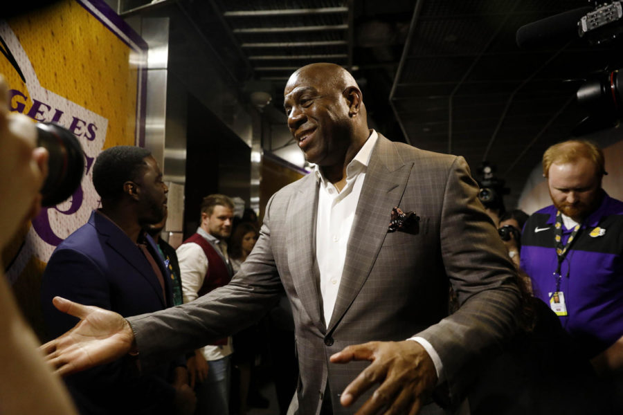 Earvin+%22Magic%22+Johnson+steps+down+as+the+Los+Angeles+Lakers%27+president+of+basketball+operations+at+Staples+Center+in+Los+Angeles+on+Tuesday%2C+April+9.%0A%0A