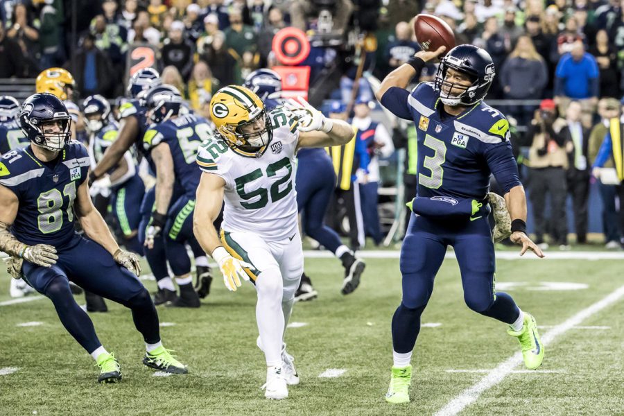 Seattle Seahawks quarterback Russell Wilson (3) throws an incomplete pass under pressure from the Green Bay Packers' linebacker Clay Matthews at CenturyLink Field in Seattle on Nov. 15, 2018.