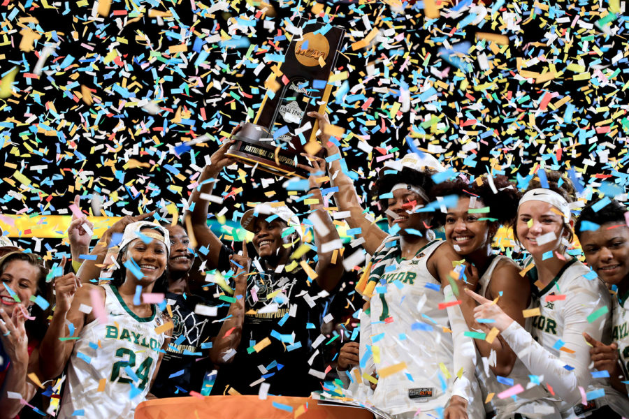 The+Baylor+Lady+Bears+celebrate+with+the+NCAA+trophy+after+their+82-81+win+over+the+Notre+Dame+Fighting+Irish+to+win+the+championship+game+of+the+2019+NCAA+Women%27s+Tournament+on+Sunday%2C+April+7%2C+at+Amalie+Arena+in+Tampa%2C+Florida.%0A