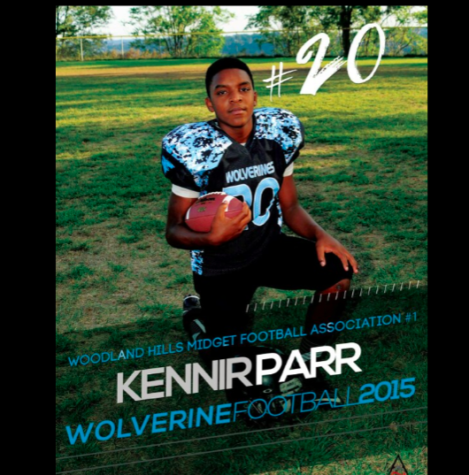 Kennir Parr in his Woodland Hills football uniform.