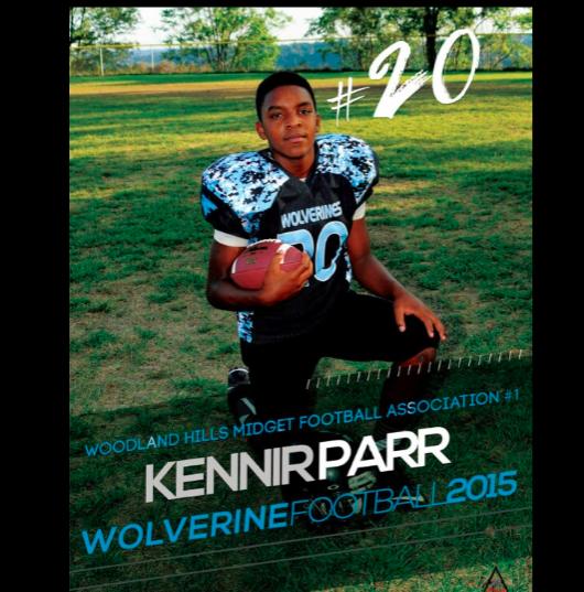 Kennir Parr in his Woodland Hills football uniform.