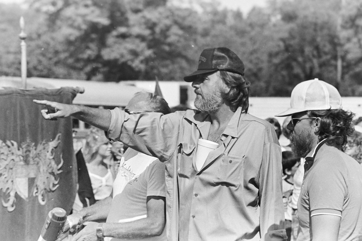 "George A. Romero on the set of ""Knightriders,"" filming near Pittsburgh in 1980."