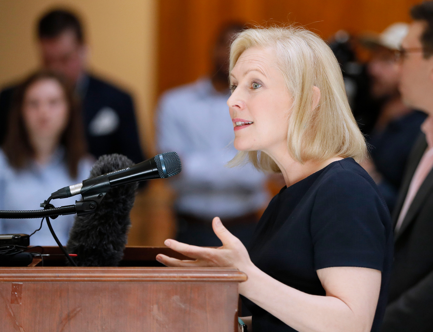 Presidential candidate Sen. Kirsten Gillibrand, D-N.Y., speaks at a round table discussion and press conference at the Georgia state capitol on May 16 to discuss abortion bans in Georgia and across the country. Georgia was the fourth state this year to pass anti-abortion