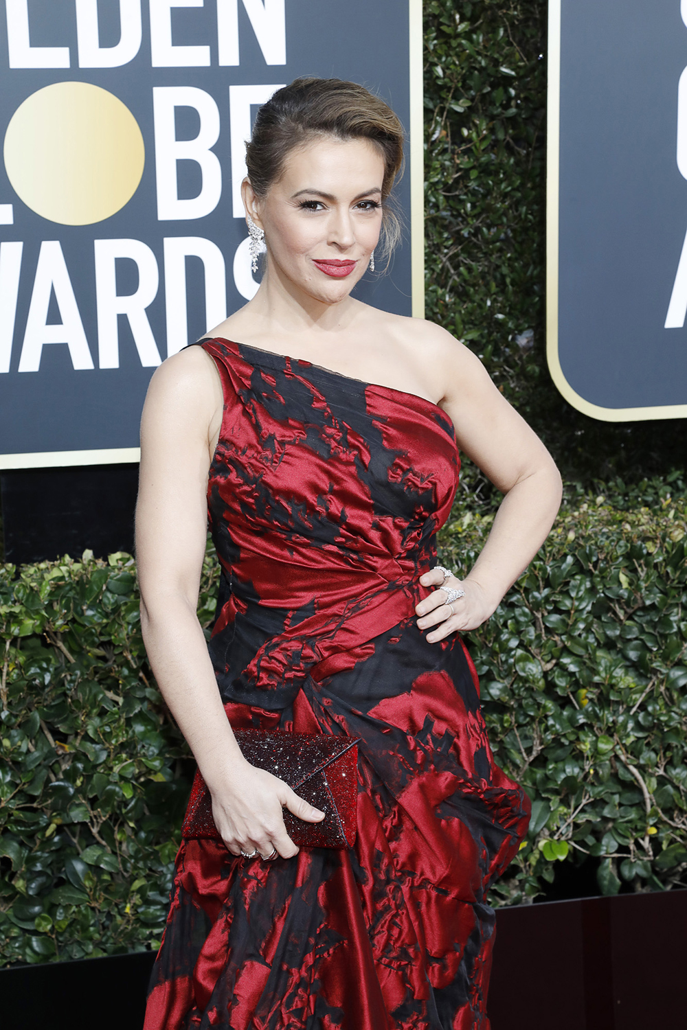 Alyssa Milano arrives for the 76th Golden Globe Awards at the Beverly Hilton Hotel in Beverly Hills, Calif., on Jan. 6.