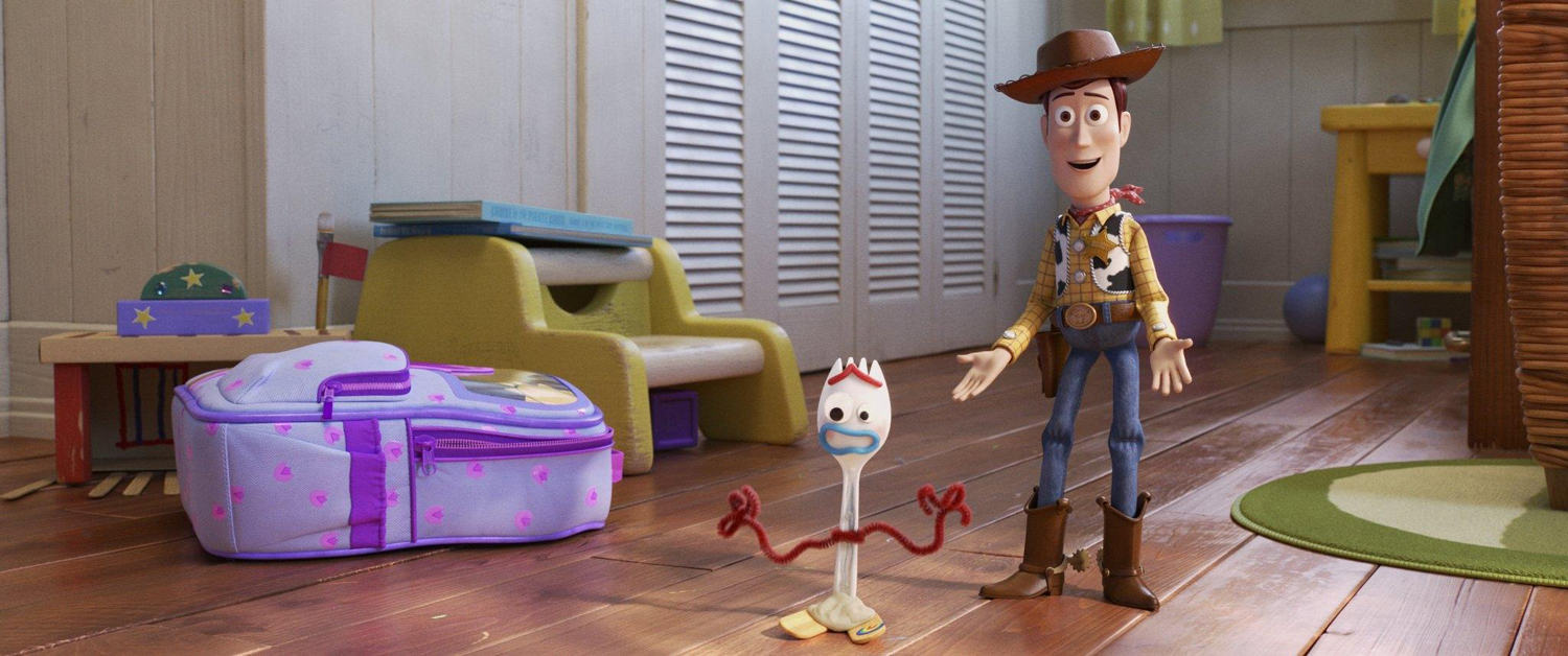 """Woody (voiced by Tom Hanks), right, with Forky (voiced by Tony Hale), in """"Toy Story 4."""""""