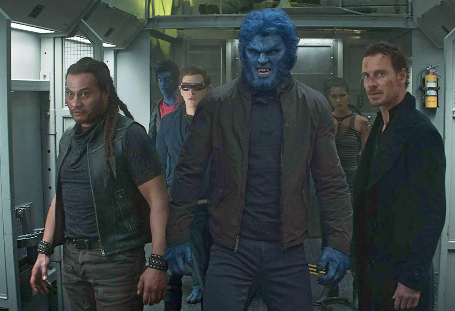 """Front row, from left: Andrew Stehlin, Nicholas Hoult and Michael Fassbender in """"Dark Phoenix."""""""