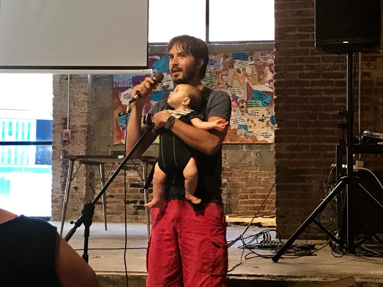 Billy Epting, who lives in Lawrenceville, brought his six-month-old daughter to City Councilperson Erika Strassburger's community listening session Wednesday.