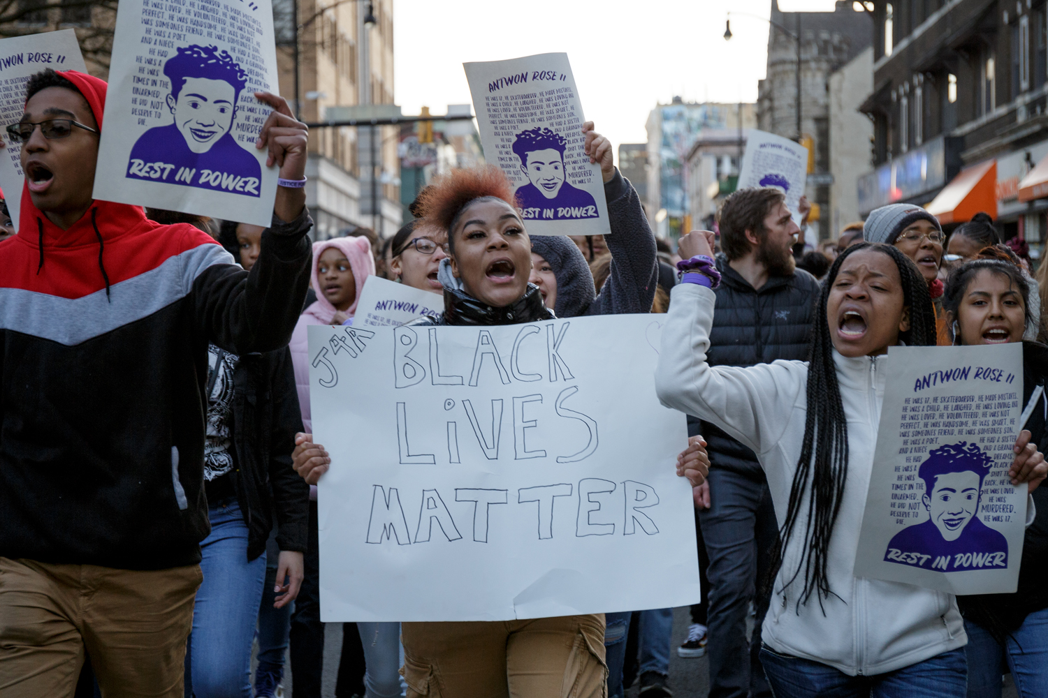 Demonstrators march down Forbes Avenue in wake of former East Pittsburgh police officer Michael Rosfeld's acquittal in connection to the death of Antwon Rose in March.