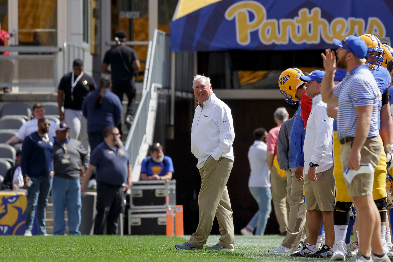 Pitt football offensive coordinator Mark Whipple on the sideline at the team's annual Spring Game.