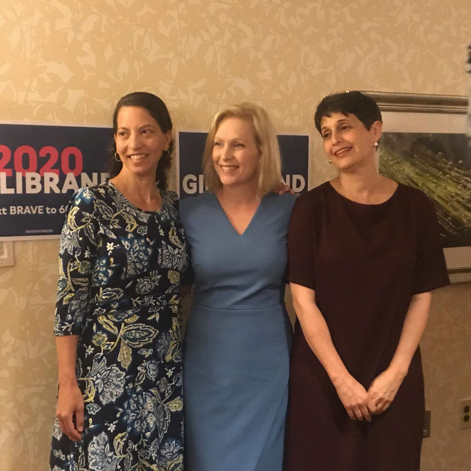 Sen. Kirsten Gillibrand (D-NY) stands for a picture with supporters at a roundtable discussion on healthcare in Oakland July 11. | Janine Faust, contributing editor