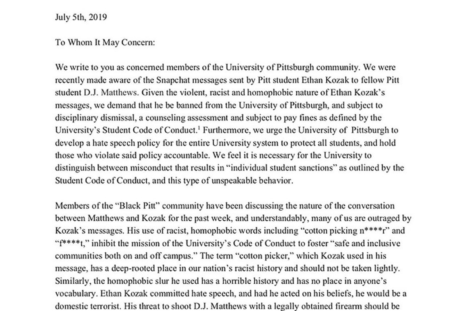 The Pitt student leaders' letter to administrators calling for the expulsion of Ethan Kozak.